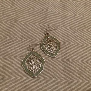 Silver and mint-beaded earrings